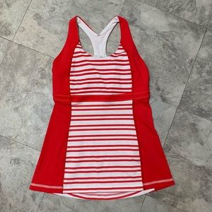 Red/White Lululemon striped tank top